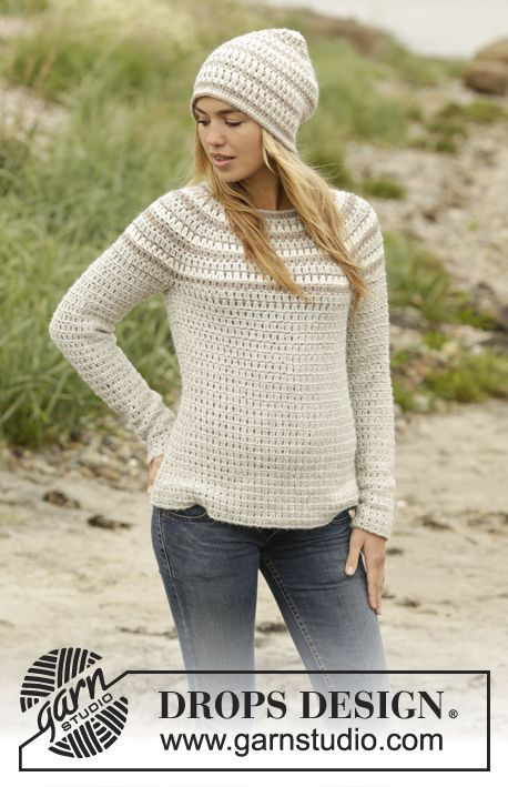 "Misty Mountain - Crochet DROPS jumper and hat with stripes, worked top down in ""Puna"". Size: S - XXXL. - Free pattern by DROPS Design"