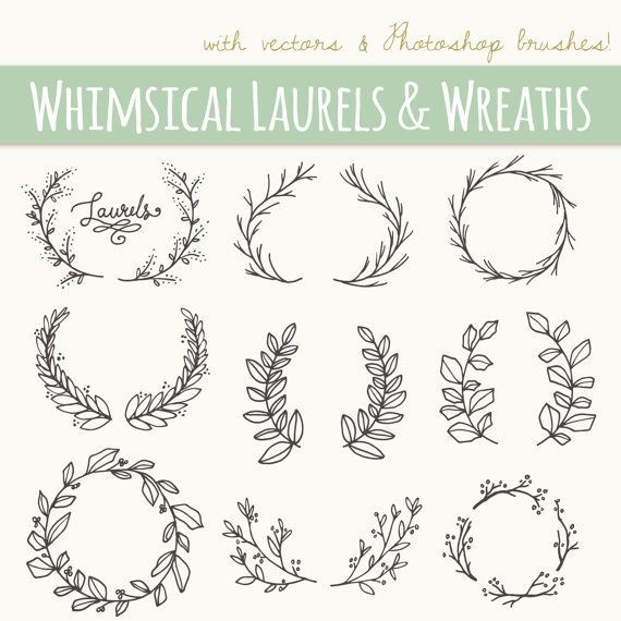 Whimsical Laurels & Wreaths Clip Art // Photoshop Brushes PNG Files // Hand Drawn Vector Flowers Blossoms Foliage Berries // Commercial Use