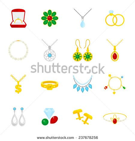 Jewelry flat icons set of diamond gold fashion expensive accessories isolated  illustration