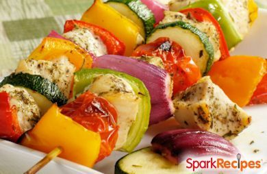 Honey Chicken Kabobs | Use any veggies that are fresh and in season in this simple summer recipe.