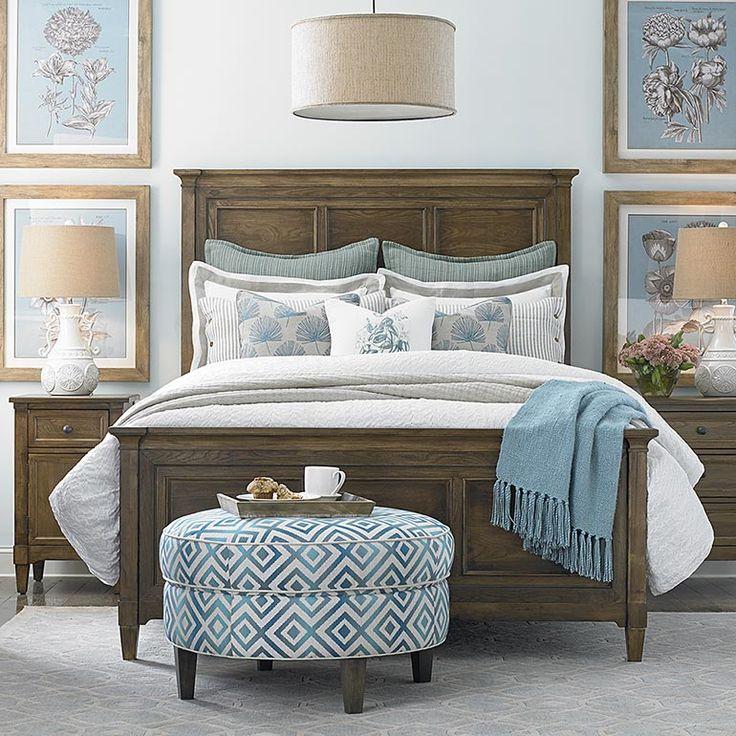Commonwealth Panel King Bedroom Set In Tobacco   Basset Furniture
