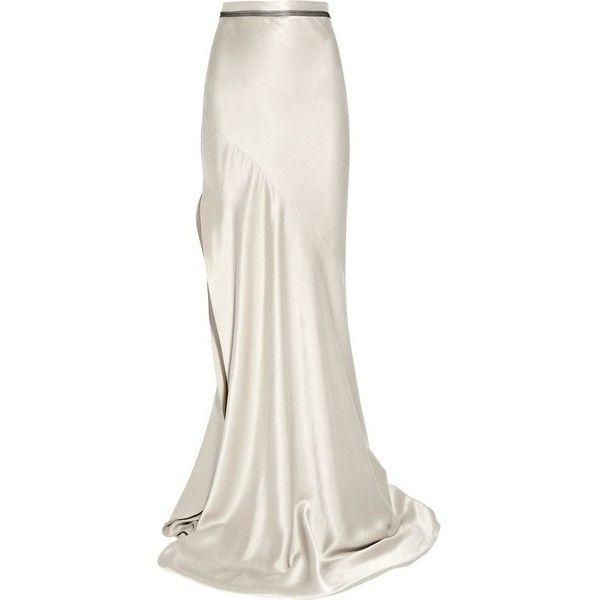 Roksanda Bias-cut silk-satin maxi skirt ❤ liked on Polyvore featuring skirts, bias cut maxi skirt, maxi skirt, side slit skirt, floor length skirts and ankle length white skirt