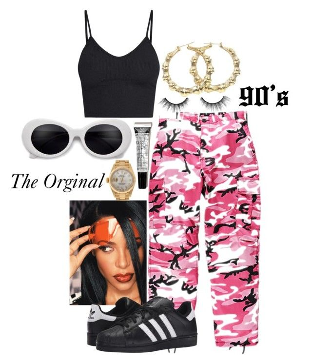 Aaliyah by rihababy on Polyvore featuring polyvore fashion style BasicGrey Rothco adidas Originals Rolex tarte clothing