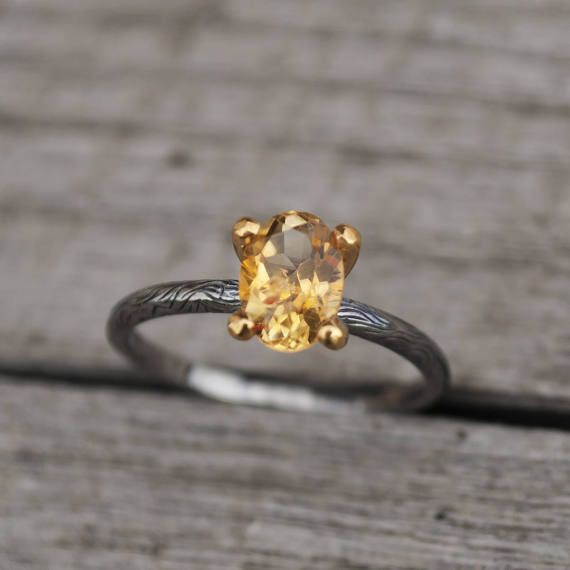 Cute Natural Citrine Silver Engagement Ring Citrine Yellow Ring