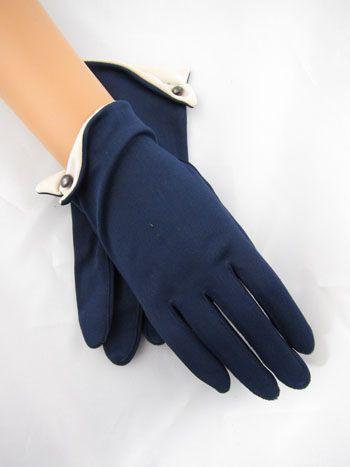 Vintage Navy Blue Short Gloves with White Cuffs