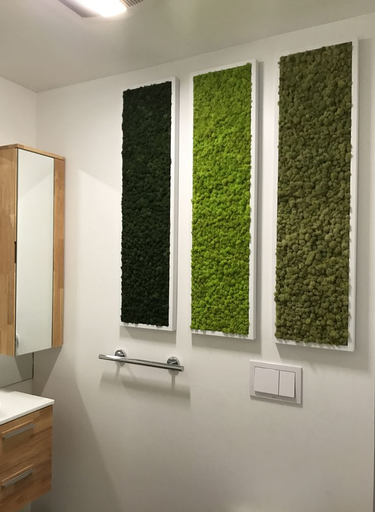 Reindeer Moss wall triptych fabricated and installed by plantwalldesign.