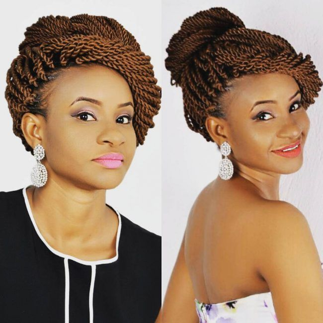 Wedding In Kenya With Twist Hair Style: Classy Rope Twist Updo