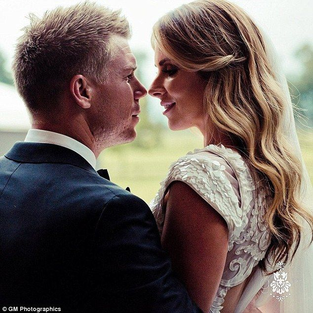 The look of love: Australian cricketer, David Warner and new-wife Candice said their 'I Dos' last month