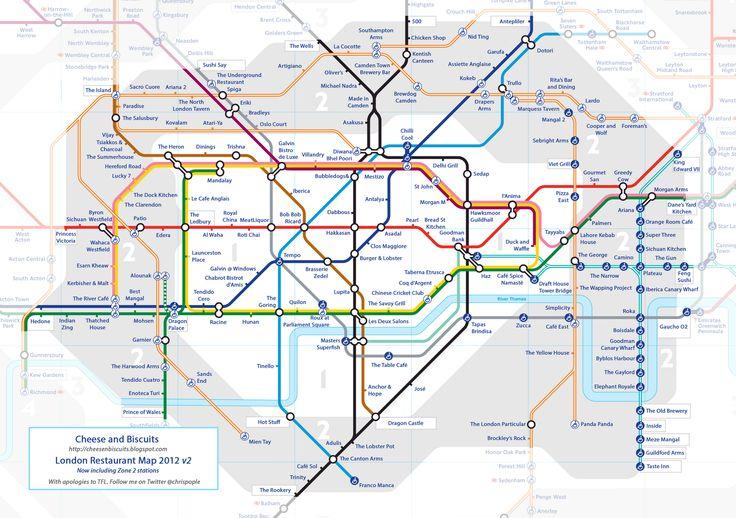 Tube map of restaurants in London http://3.bp.blogspot.com/-rEkKBNwkix8/UJuxGYzw2zI/AAAAAAAAHUk/g43lYvCv6zE/s1600/Restaurant%2BTube%2BMap%2Bv2_4.gif