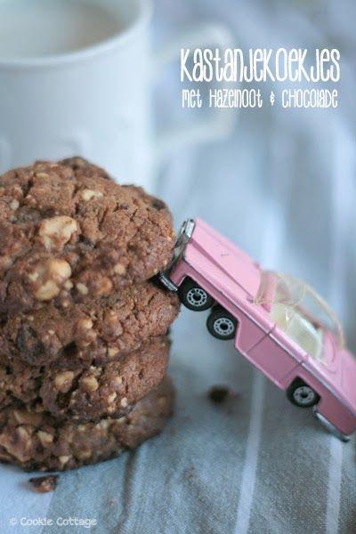 Kastanjekoekjes met hazelnoot en chocolade