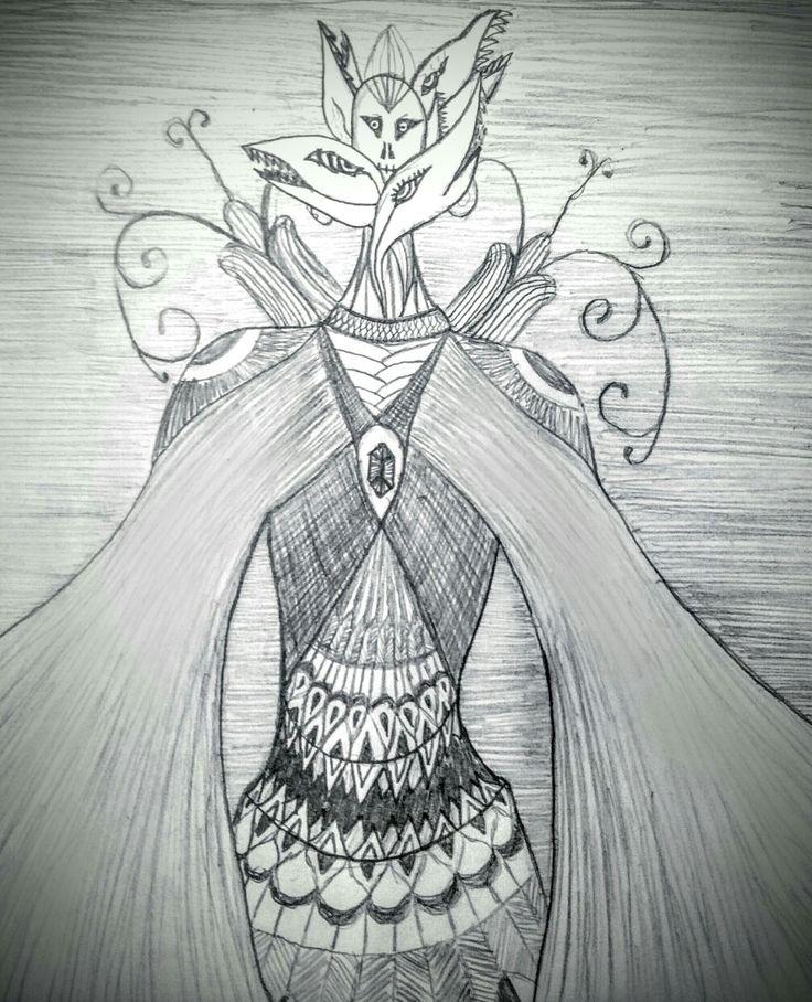 Linen, monster, many-headed, pencil drawing, black-white