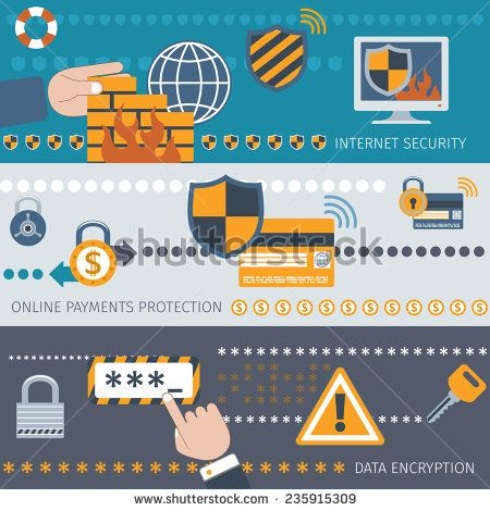 Security line banners set with internet online payment protection data encryption isolated vector illustration