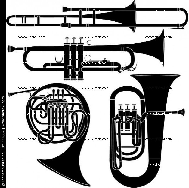 Collage brass musical instruments.  Trombone, Trumpet, Tuba and French Horn.