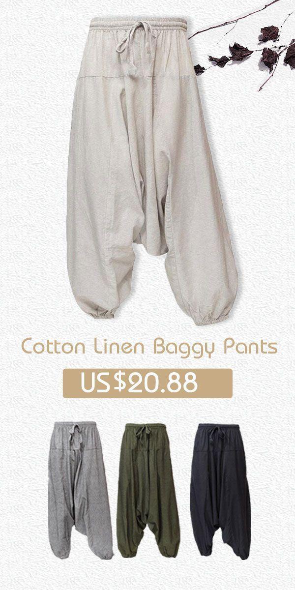 fe7c48a6e2 Mens Cotton Linen Harem Pants Casual Baggy Loose Wide Legs Trousers #pants  #menswear #casual