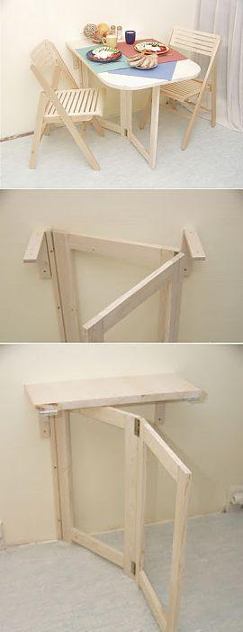 Сделайте практичный складной столик для маленькой квартиры..