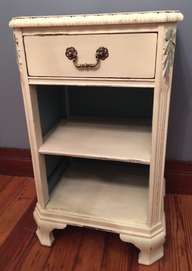 """Shabby Chic Chalk Painted White and Teal Nightstand Drawer Shelves """"Rebecca"""""""