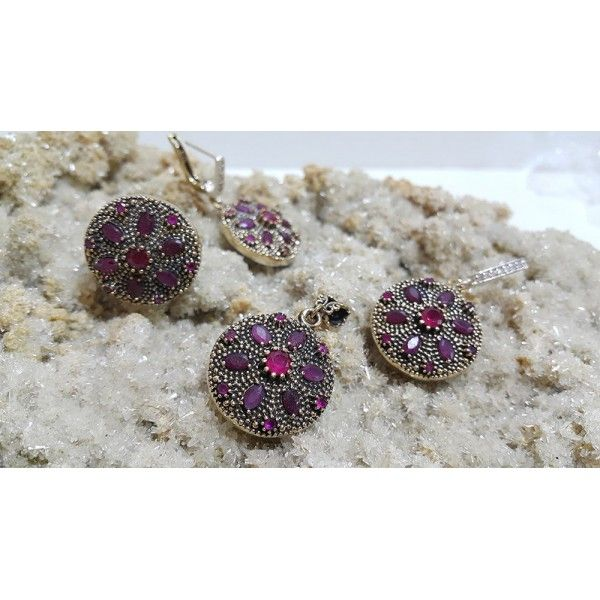 Authentic Sterling Silver Ruby Stone Set Ottoman Style #silver #set #ottoman #wholesale #women #fashion #turkish #handmade #jewelry #jewellers #jewellery #jewel #ruby #granat #emerald #sapphire #gemstone #new #antique #ring #earring #necklace