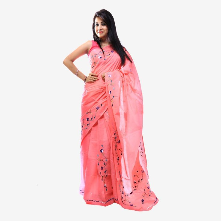 Cotton hand Embroidery Mekhela Chador Set with Blouse Piece (Peach Color)______A very cozy and comfortable pure cotton Mekhela Chador set, with the Perfect and beautiful hand embroidery on it. This Mekhela Chador set is the best fit for the summers.
