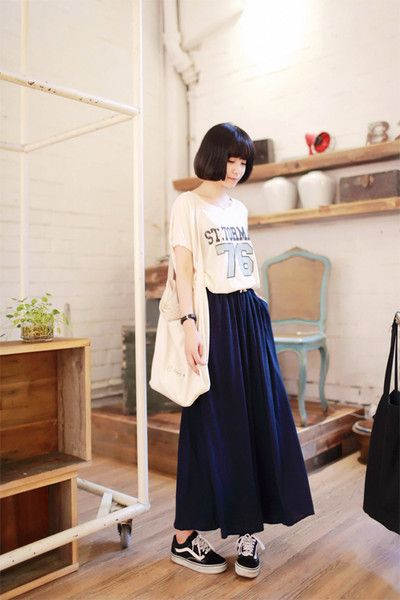 Thrift stores are crawling with graphic tees and vintage a-line skirts...it should be fairly easy to recreate this look...
