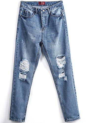 Womens Blau Blass Ripped Pockets Denim Pant #women #covetme #alfie