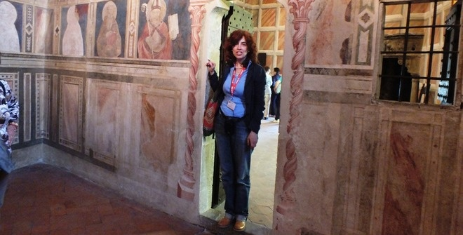 Guided tour of the Poppi Castle of the Guidi Counts - photo taken in the private chapel of the castle, fully frescoed by Gaddi in XIV century.