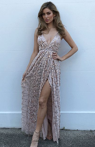 NAOMI SEQUIN MAXI - ROSE GOLD (PREORDER) $139