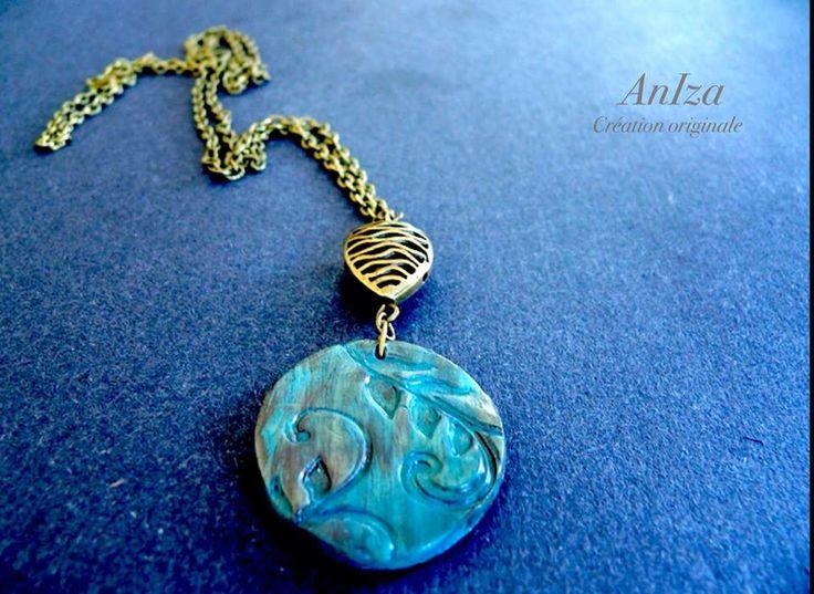 collier long fimo, fait par Annie