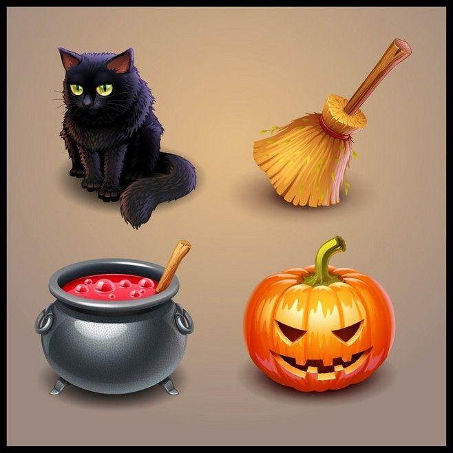 4 3D Halloween icon vector material