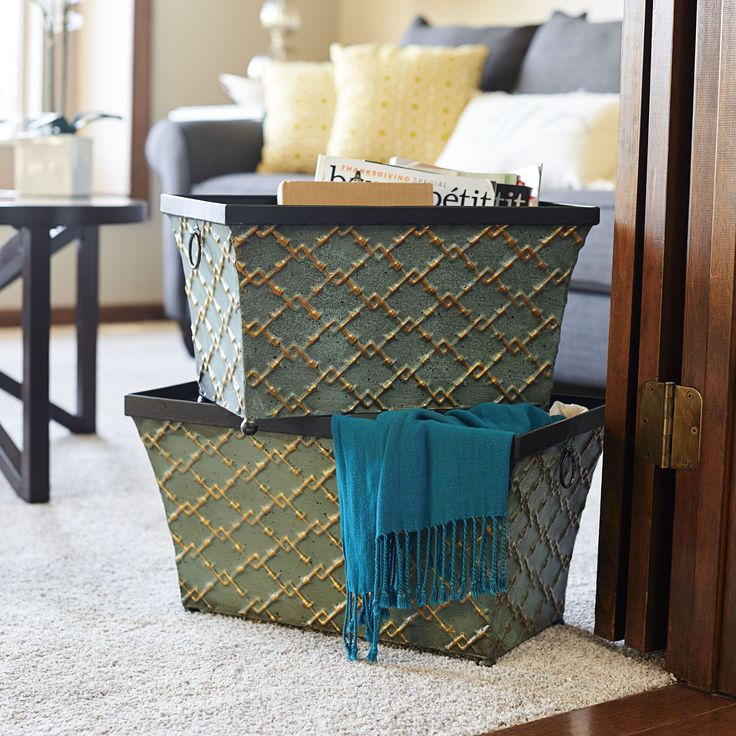 Household Essentials Green Gold Link Metal Storage Bins (Set Of 2) (Gold  Link
