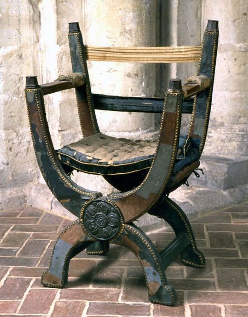 Winchester Cathederal: The chair that Mary Tudor used when she married Philip of Spain at The Cathedral in 1554.
