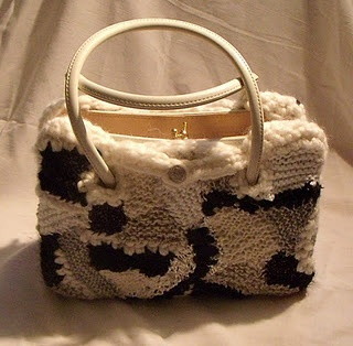 Handbag with a coat in black and white freeform