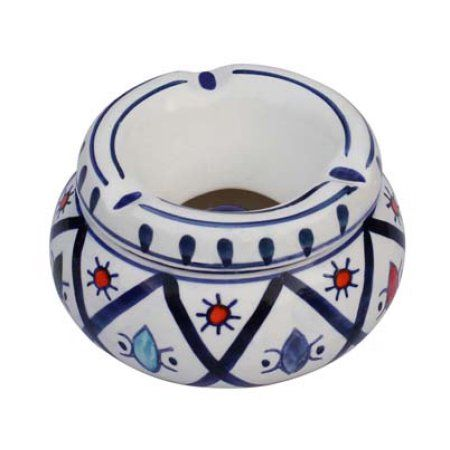 """SouvNear Ceramic Ashtray with Lid - Moroccan Handmade Ash Tray 4.6"""" Outdoors & Indoors Decorative Hand Painted Ceramic Smoking Smoke Ashtray with 3 Cigarette Holder Slots Office Bar Patio Garden Decor"""