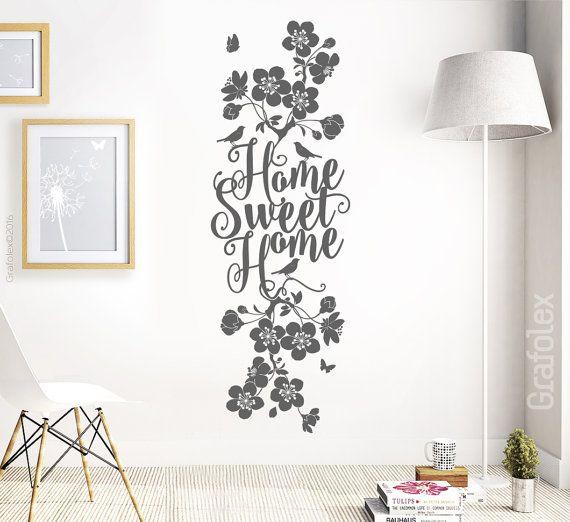 Nice Home Sweet Home Wandtattoo Wandaufkleber Wandsticker Zuhause Familie Kirschbl ten Ast Zweig Ranke Blume Bl ten Wanddeko Wohnzimmer wsb