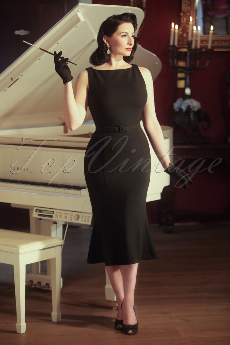 Retro Style Dresses The Coco Trumpet Dress in Ink Black £115.46 AT vintagedancer.com