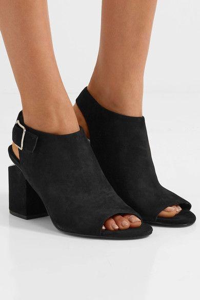 Alexander Wang - Nadia Cutout Suede Slingback Sandals - Black