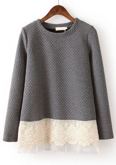 Grey Long Sleeve Contrast Lace Loose Sweatshirt