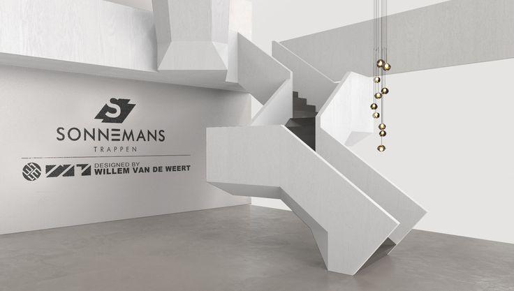 Ontwerpschets van de Sonnemans Trap met een dichte balustrade.