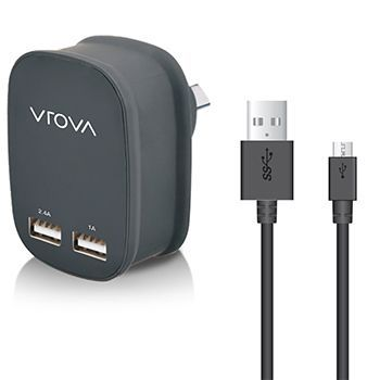 Use the VROVA USB Wall Power Adapter to fast charge your iPhone, iPad, Android phones, Tablets and other accessories. The easy to use design lets you charge up to two devices.  #Charger #MicroUSB #VROVAUSB #PowerAdapter #Lightweight #compactdesign #MicroUSBinput #aconnect