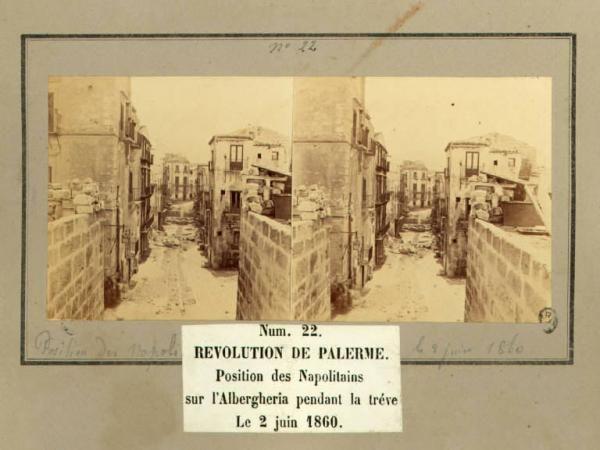 Spedizione dei Mille - Rivoluzione di Palermo - Via Toledo - Postazione dell'esercito borbonico durante la tregua