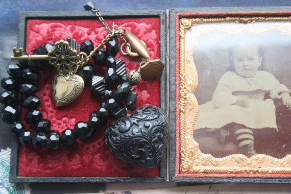 Gothic necklace Victorian Heart necklace Assemblage jewelry
