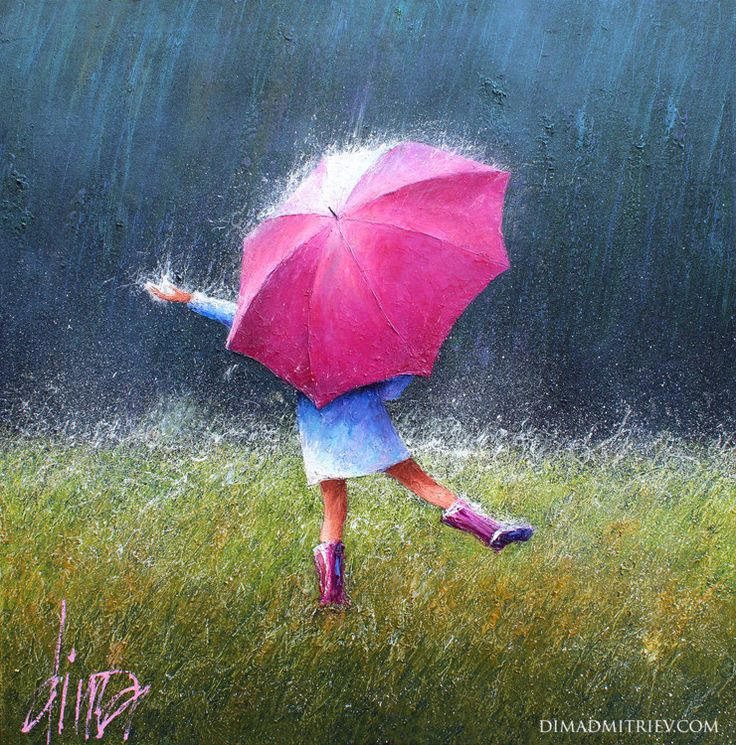 Dancing in the Rain (Painting), 80x80x2 cm by DIMA DMITRIEV The painting characterized by strong colour and bold strokes makes with palette knife on canvas background playing with light and shadow.
