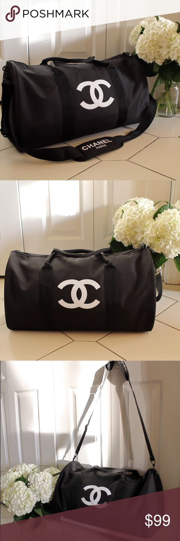 "🔥LAST ONE🔥Authentic Chanel Vip Gym Duffle Bag Authentic Chanel Vip Gift Gym Duffle Bag   CHANEL VIP GIFT TRAVEL BAG GYM BAG CROSS BODY BAG SHOULDER BAG -NEW New in original packaging. Authentic VIP Gift given when you make a certain amount purchase to qualify for their free gift offers. This was a VIP gift from Chanel Beaute corner, does NOT come with hologram sticker, serial number or tags. Dimensions L 48cm X H 32cm In inches L 19"" X H 13"" CHANEL Bags Shoulder Bags"
