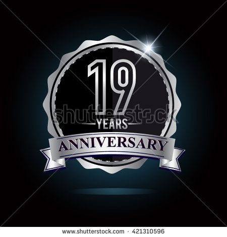 19th anniversary logo with ribbon. 19 years anniversary signs illustration. Silver anniversary logo with ribbon. - stock vector