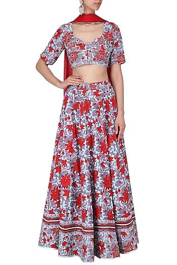 fcda3bf1e7 Surendri by Yogesh Chaudhary Featuring a red and blue floral printed  lehenga skirt in chanderi base. It is paired with matching blouse  higlighted with zari ...