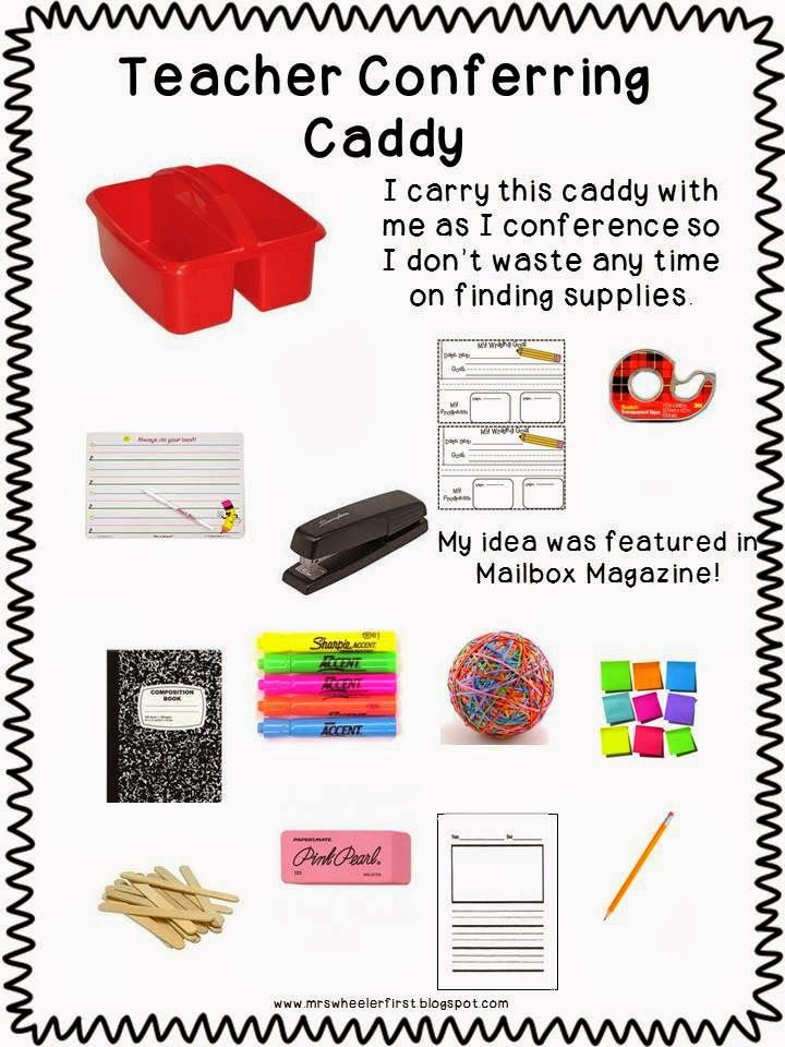 Mrs. Wheeler's First Grade Tidbits: Bright Ideas Blog Hop - it's time to organize an conferring caddy!  Love it!