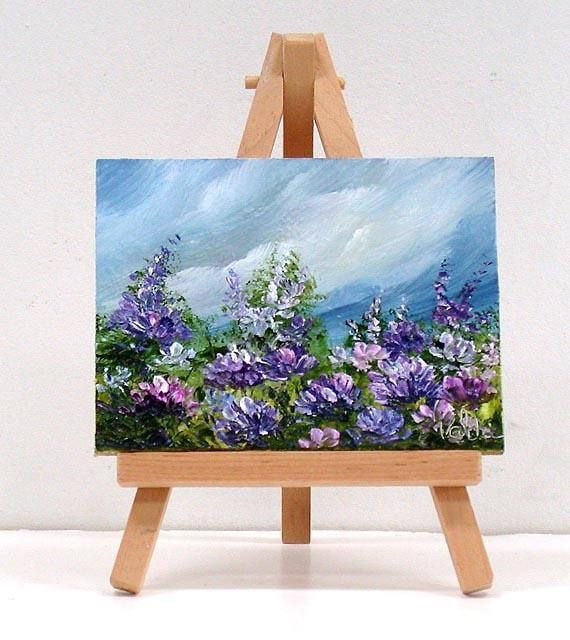 Blue Sky And Purple Flowers 3x4 Inches Original