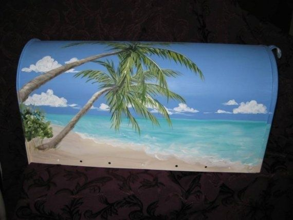 handpainted beach scenes | painted mailbox ideas | Tropical Beach Scene Hand Painted Mailbox by ...