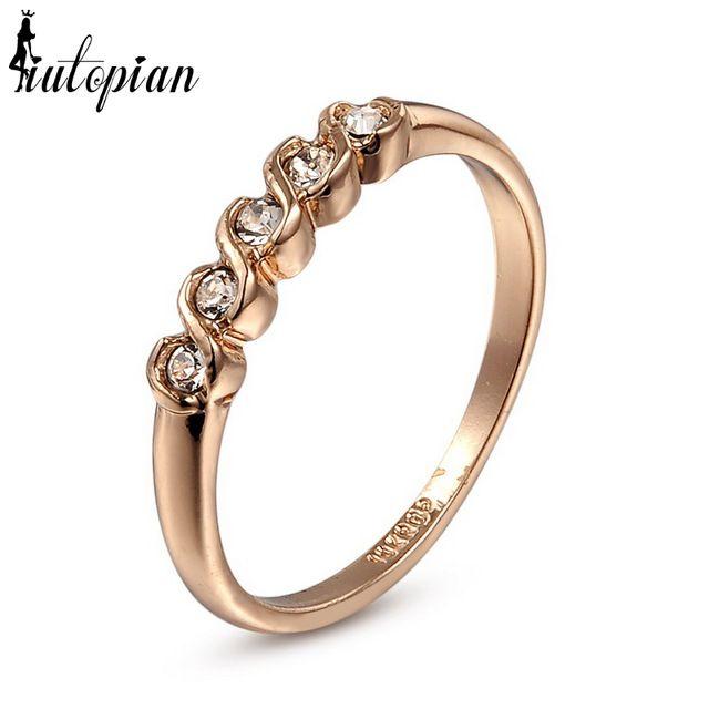 Italinba Rigant кольца в простом стиле для женщин с покрытием из розового золота 18К с австрийским кристаллом Stellux, высокое качество полный набор размеров #RG90035