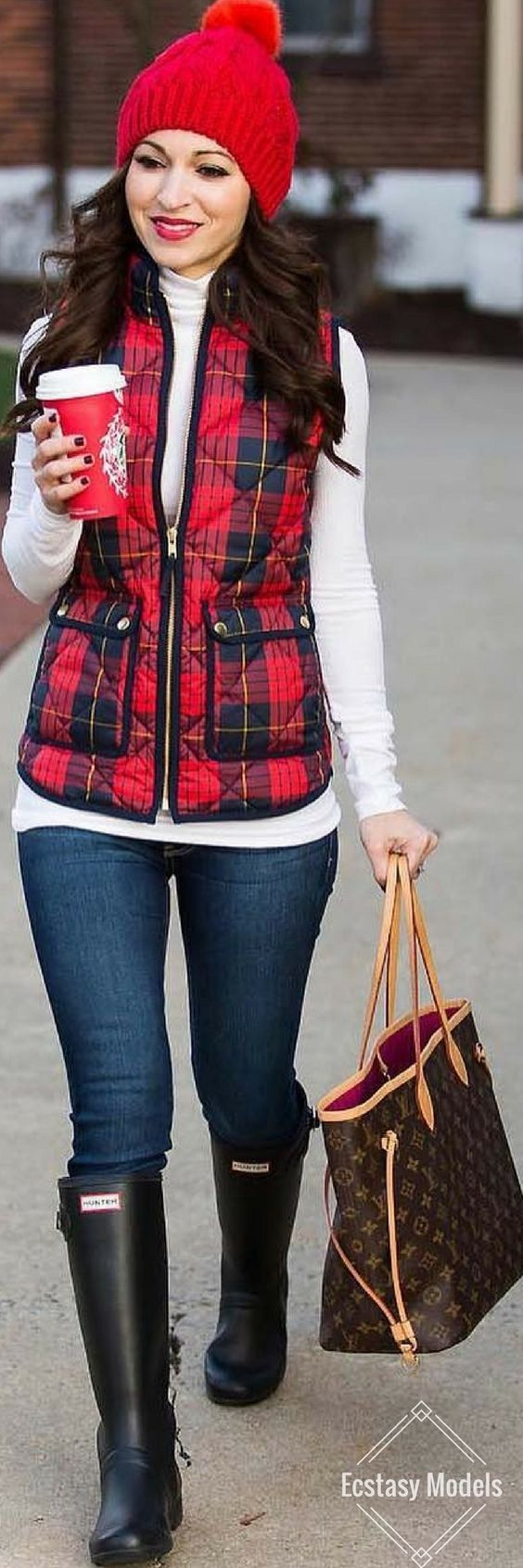 Puffy Vest // Vest by J. Crew , Boots By Hunter // Fashion Look by Alissa Weikel
