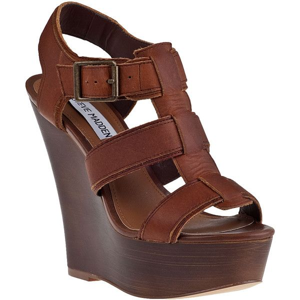 STEVE MADDEN Wanting Wedge Sandal Cognac Leather found on Polyvore